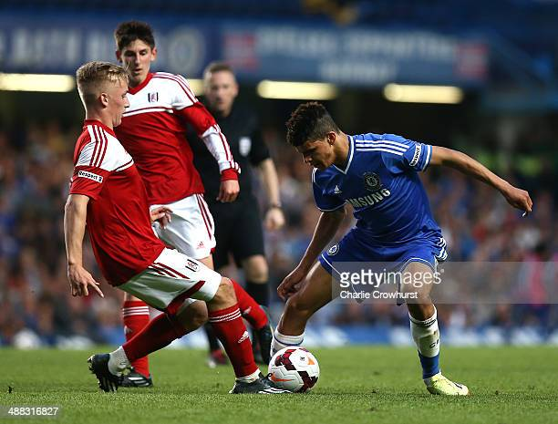 Dominic Solanke of Chelsea attacks during the FA Youth Cup Final Second Leg match between Chelsea and Fulham at Stamford Bridge on May 05 2014 in...