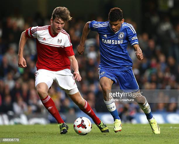Dominic Solanke of Chelsea breaks away from Fulham's Cameron Burgess during the FA Youth Cup Final Second Leg match between Chelsea and Fulham at...