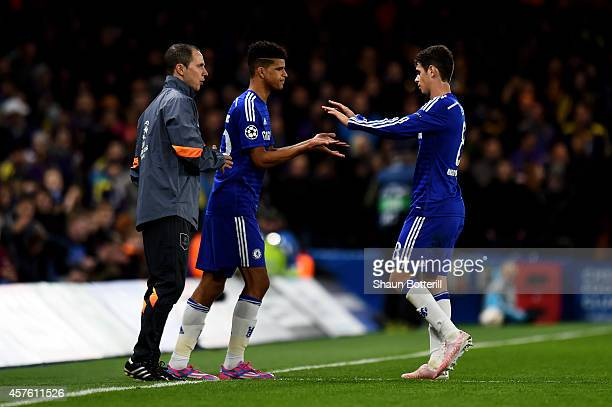 Dominic Solanke of Chelsea comes on as a second half substitute for Oscar of Chelsea during the UEFA Champions League Group G match between Chelsea...