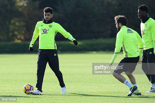 Dominic Solanke of Chelsea during a training session at Chelsea Training Ground on October 28 2016 in Cobham England