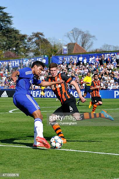 Dominic Solanke of Chelsea FC and Mykhailo Kostenko of FC Shakhtar Donetsk in action during the UEFA Youth League final match between FC Shakhtar...