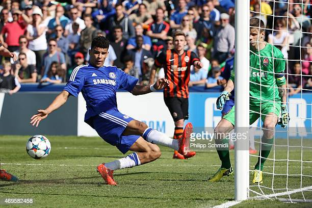 Dominic Solanke of Chelsea FC misses a chance at goal against Oleh Kudryk of Shakhtar Donetsk during the UEFA Youth League Final match between...