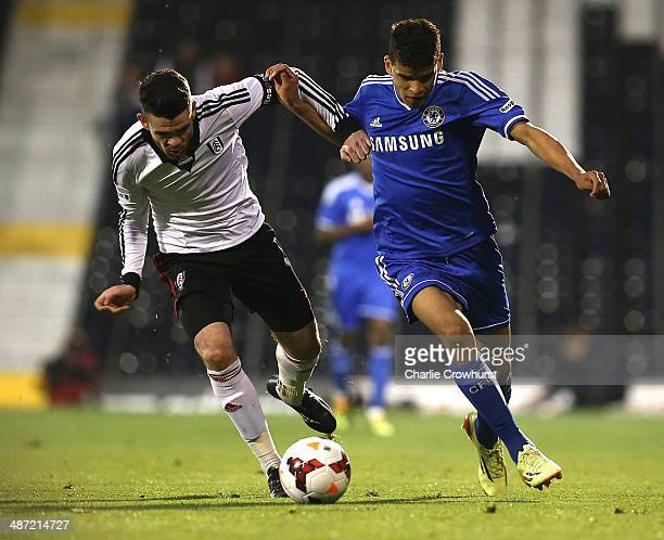 Dominic Solanke of Chelsea tries to get past Liam Donnelly of Fulham during the FA Youth Cup Final First Leg match between Fulham and Chelsea at...