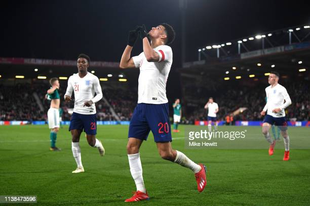Dominic Solanke of England celebrates after scoring his sides first goal during the International Friendly match between England u21's and Germany...