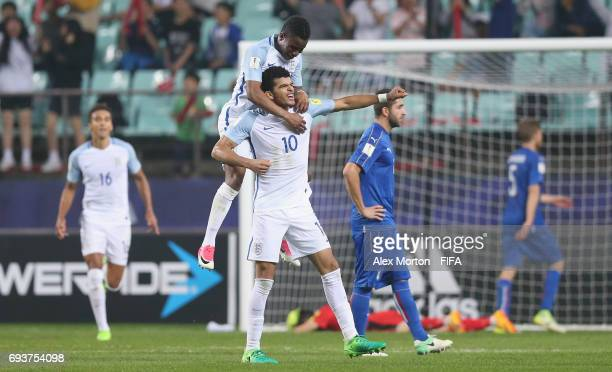 Dominic Solanke of England celebrates after scoring their third goal during the FIFA U20 World Cup Korea Republic 2017 Semi Final match between Italy...
