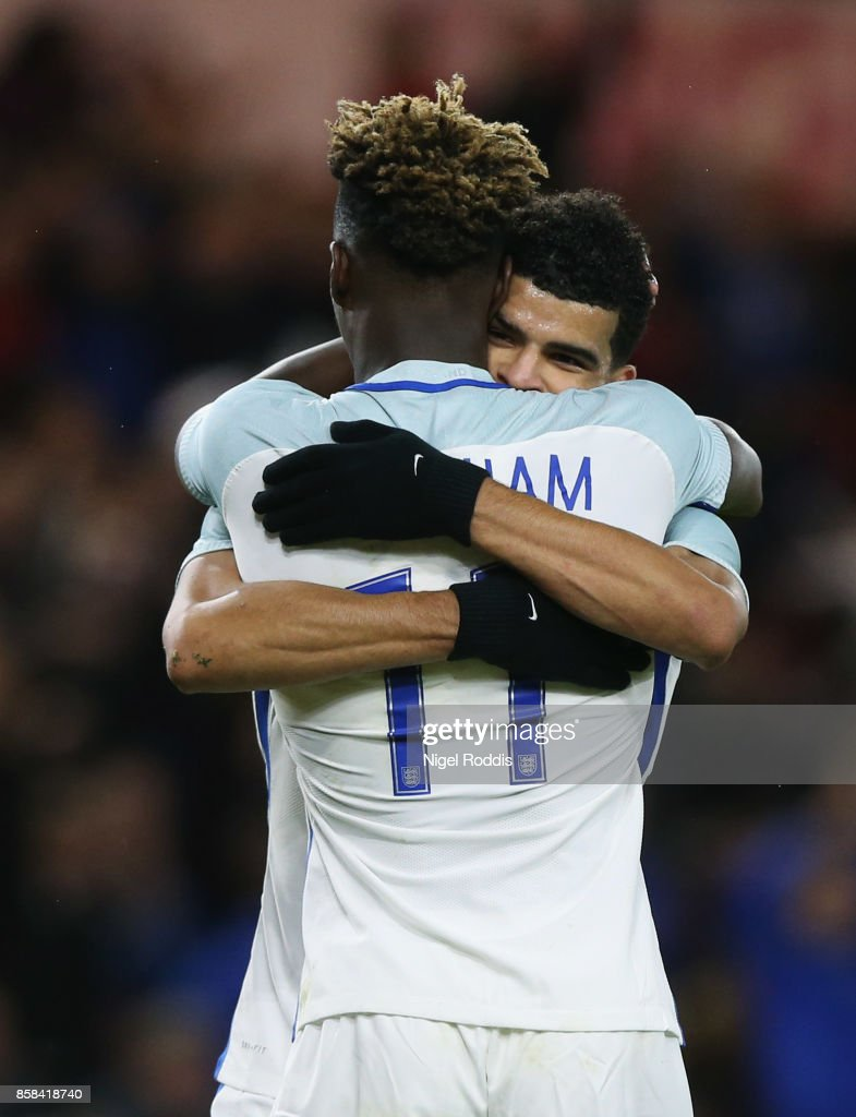 Dominic Solanke of England (R) celebrates as he scores their third goal with Tammy Abraham of England during the UEFA European Under 21 Championship Group 4 Qualifier between England and Scotland at Riverside Stadium on October 6, 2017 in Middlesbrough, England.