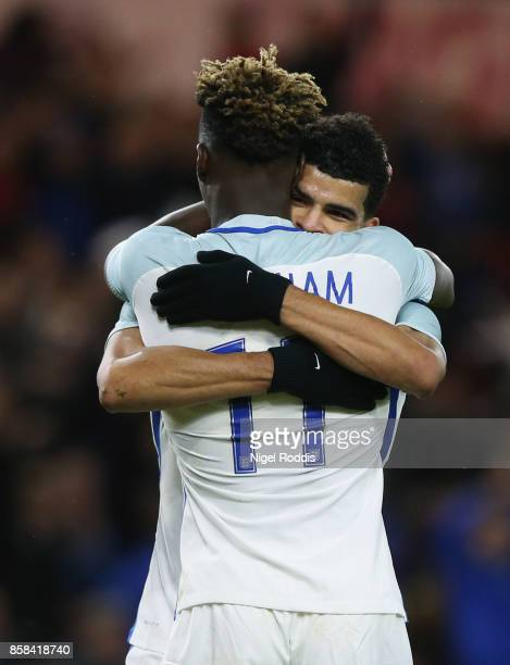 Dominic Solanke of England celebrates as he scores their third goal with Tammy Abraham of England during the UEFA European Under 21 Championship...