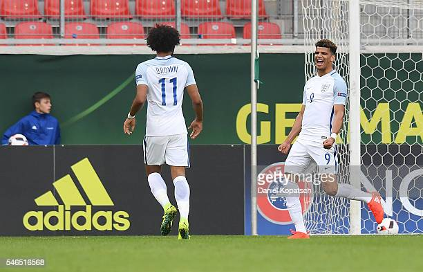 Dominic Solanke of England celebrates his team's second goal with team mates during the UEFA Under19 European Championship match between U19 France...