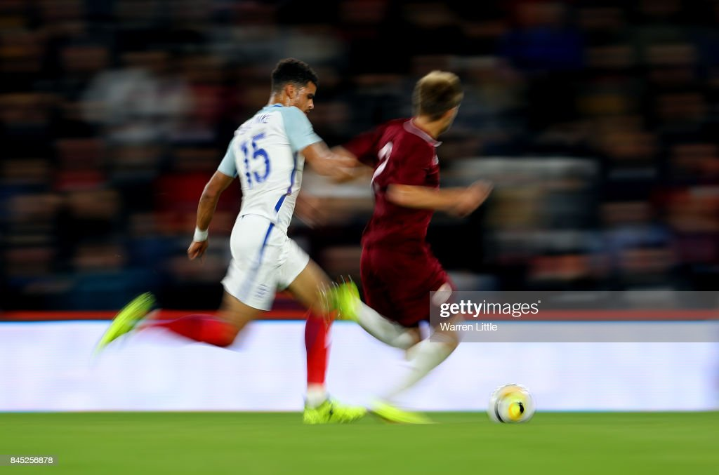 Dominic Solanke of England in action during the UEFA Under 21 Championship Qualifiers between England and Latvia at the Vitality Stadium on September 5, 2017 in Bournemouth, England.