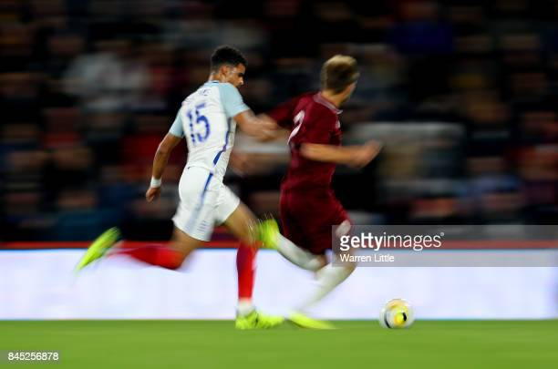 Dominic Solanke of England in action during the UEFA Under 21 Championship Qualifiers between England and Latvia at the Vitality Stadium on September...