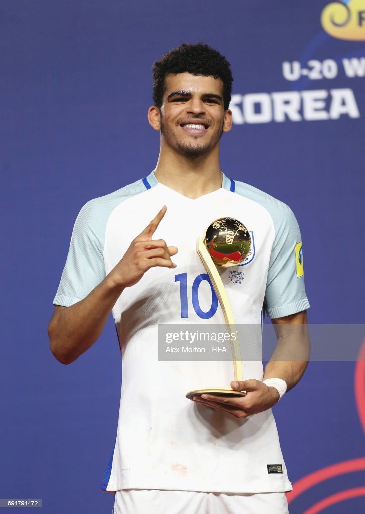 Dominic Solanke of England poses with the Golden Ball Award after the FIFA U-20 World Cup Korea Republic 2017 Final between Venezuela and England at Suwon World Cup Stadium on June 11, 2017 in Suwon, South Korea.