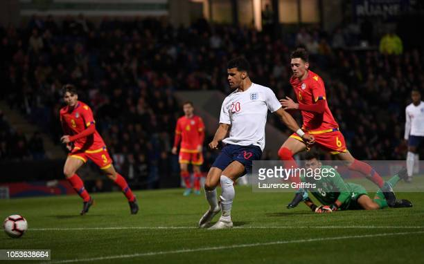 Dominic Solanke of England scores the fifth goal during the 2019 UEFA European Under21 Championship Qualifier between England U21 and Andorra U21 at...