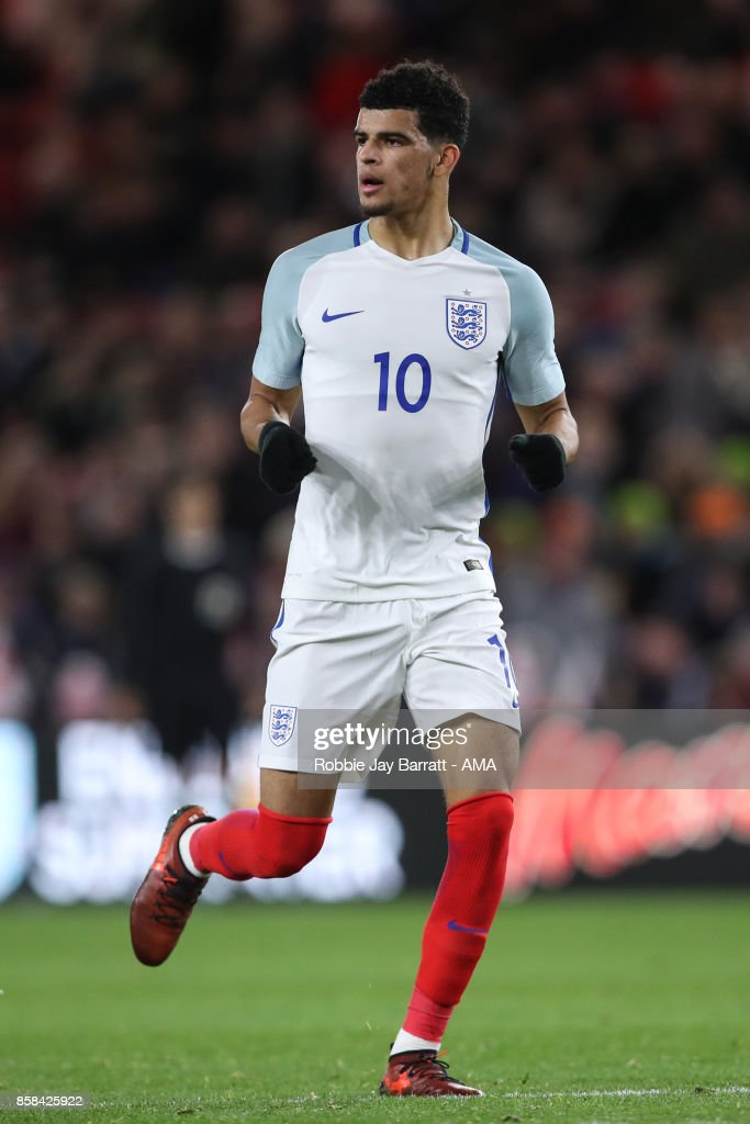 Dominic Solanke of England U21 during the UEFA European Under 21 Championship Qualifiers fixture between England U21 and Scotland U21 at Riverside Stadium on October 6, 2017 in Middlesbrough, England.