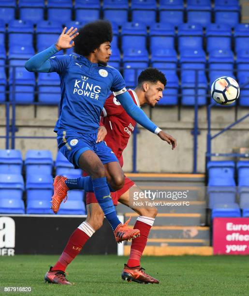 Dominic Solanke of Liverpool and Hamza Choudhury of Leicester City in action during the Liverpool v Leicester City PL2 game at Prenton Park on...