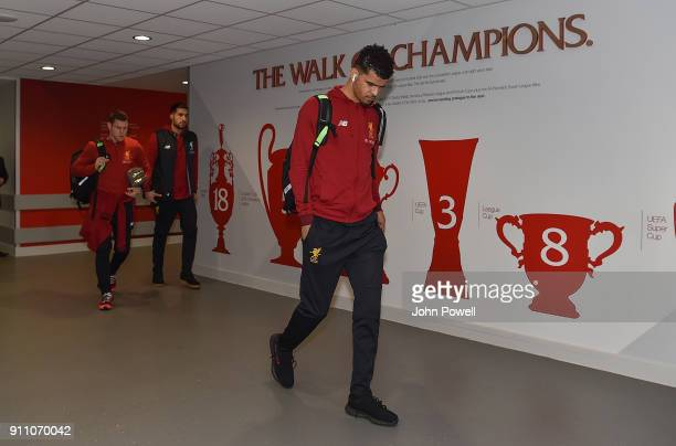 Dominic Solanke of Liverpool arrives at Anfield before The Emirates FA Cup Fourth Round match between Liverpool and West Bromwich Albion at Anfield...