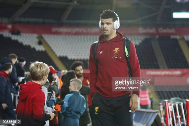 Dominic Solanke of Liverpool arrives at Liberty Stadium prior to kick off of the Premier League match between Swansea City and Liverpool at the...