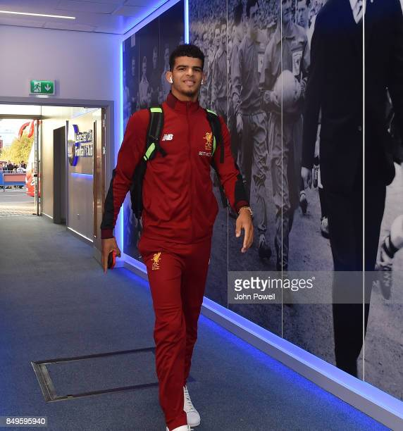 Dominic Solanke of Liverpool arrives before the Carabao Cup Third Round match between Leicester City and Liverpool at The King Power Stadium on...