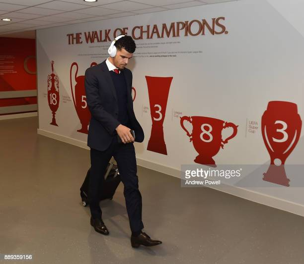 Dominic Solanke of Liverpool arrives before the Premier League match between Liverpool and Everton at Anfield on December 10 2017 in Liverpool England