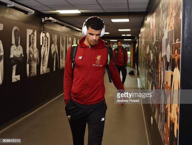 Dominic Solanke of Liverpool arrives before the Premier League match between Swansea City and Liverpool at Liberty Stadium on January 22 2018 in...