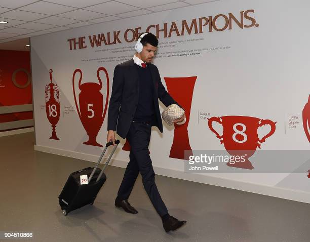 Dominic Solanke of Liverpool arrives for the Premier League match between Liverpool and Manchester City at Anfield on January 14 2018 in Liverpool...