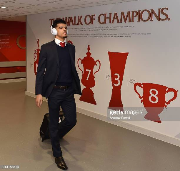 Dominic Solanke of Liverpool arriving before the Premier League match between Liverpool and Tottenham Hotspur at Anfield on February 4 2018 in...