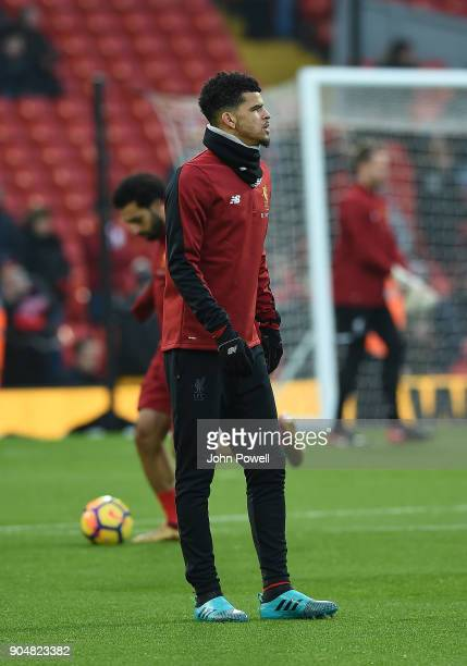 Dominic Solanke of Liverpool before the Premier League match between Liverpool and Manchester City at Anfield on January 14 2018 in Liverpool England