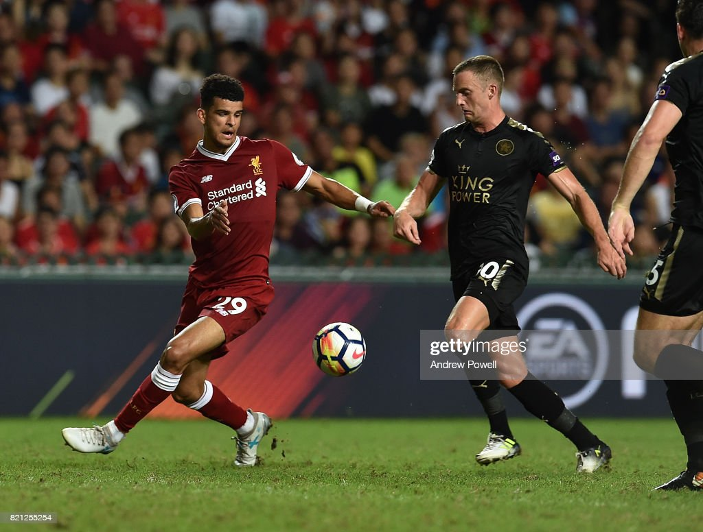 Dominic Solanke of Liverpool competes with Shinji Okazaki of Leicester City during the Premier League Asia Trophy match between Liverpool FC and Leicester City FC at the Hong Kong Stadium on July 22, 2017 in Hong Kong, Hong Kong.