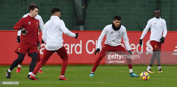 Dominic Solanke of Liverpool during a training session at Melwood Training Ground on January 18 2018 in Liverpool England