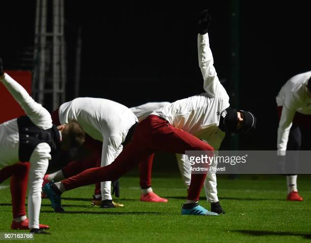 Dominic Solanke of Liverpool during a training session at Melwood Training Ground on January 19 2018 in Liverpool England