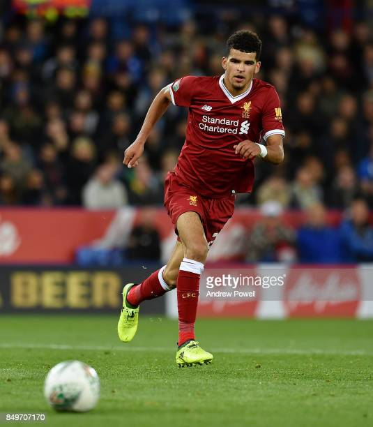 Dominic Solanke of Liverpool during the Carabao Cup third round match between Leicester City and Liverpool at The King Power Stadium on September 19...