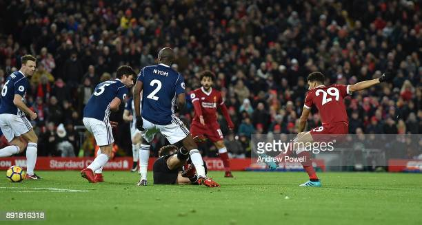 Dominic Solanke of Liverpool during the Premier League match between Liverpool and West Bromwich Albion at Anfield on December 13 2017 in Liverpool...