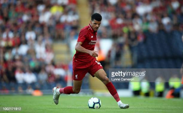 Dominic Solanke of Liverpool during the PreSeason Friendly between Blackburn Rovers and Liverpool at Ewood Park on July 19 2018 in Blackburn England