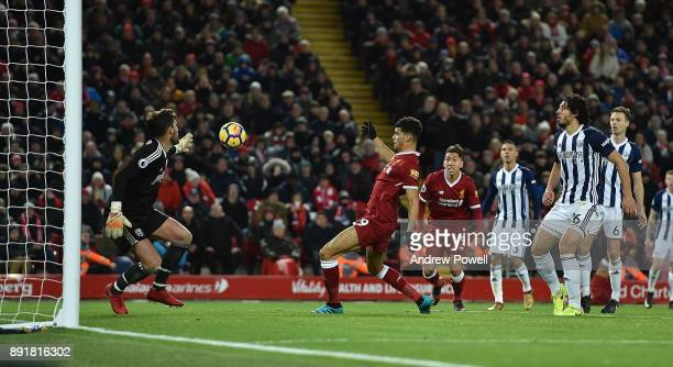 Dominic Solanke of Liverpool Hand Ball in the box during the Premier League match between Liverpool and West Bromwich Albion at Anfield on December...