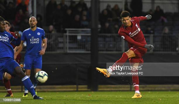 Dominic Solanke of Liverpool has a shot on goal during the PL2 game at The Kirkby Academy on November 3 2018 in Kirkby England