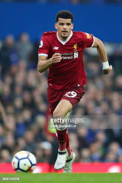 Dominic Solanke of Liverpool in action during the Premier League match between Everton and Liverpool at Goodison Park on April 7 2018 in Liverpool...