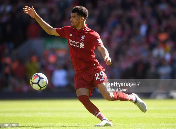 Dominic Solanke of Liverpool in action during the Premier League match between Liverpool and Brighton and Hove Albion at Anfield on May 13 2018 in...