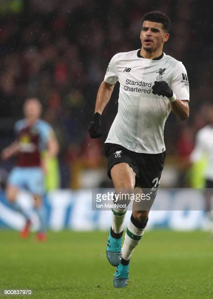 Dominic Solanke of Liverpool is seen during the Premier League match between Burnley and Liverpool at Turf Moor on January 1 2018 in Burnley England