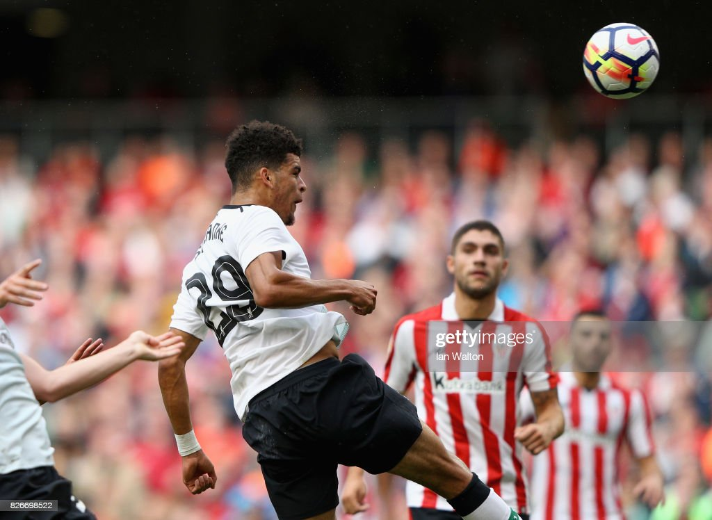 Dominic Solanke of Liverpool scores their teams third goal during the Pre Season Friendly match between Liverpool and Athletic Club at Aviva Stadium on August 5, 2017 in Dublin, Ireland.