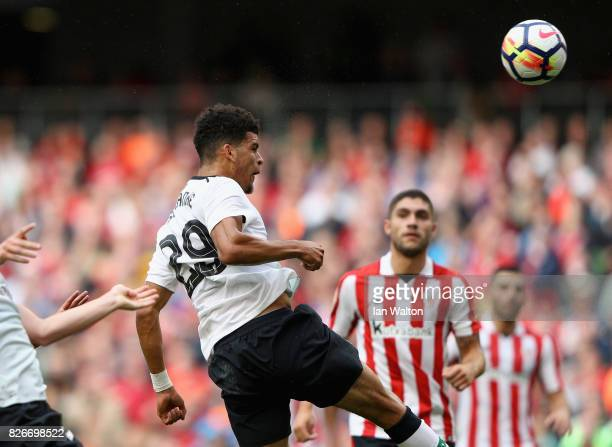 Dominic Solanke of Liverpool scores their teams third goal during the Pre Season Friendly match between Liverpool and Athletic Club at Aviva Stadium...