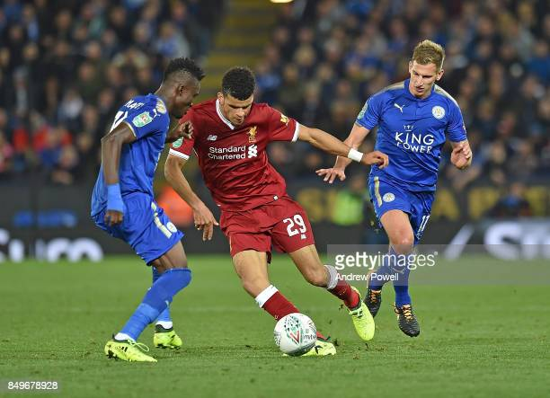 Dominic Solanke of Liverpool with Daniel Amartey of Leicester during the Carabao Cup third round match between Leicester City and Liverpool at The...
