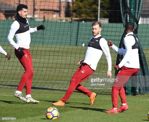 Dominic Solanke Ragnar Klavan and Georginio Wijnaldum of Liverpool during a training session at Melwood Training Ground on March 8 2018 in Liverpool...