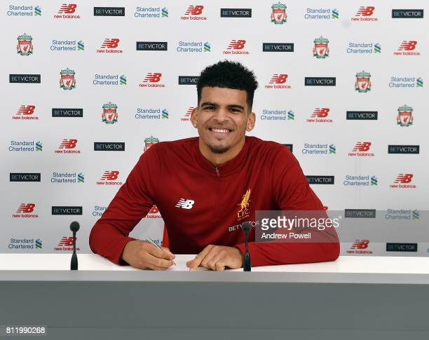 Dominic Solanke signs for Liverpool at Melwood Training Ground on July 10 2017 in Liverpool England