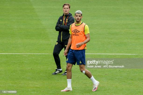 Dominic Solanke with Head Coach Scott Parker of Bournemouth during a pre-season training session at Vitality Stadium on July 07, 2021 in Bournemouth,...