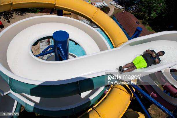 Dominic St John age 24 in the spiral water tubes at Great Waves Waterpark in Alexandria VA on June 25 2016 The No Va Regional Park Authority trying...