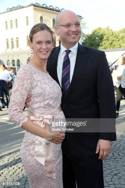 Dominic Stoiber and his pregnant wife Melanie Stoiber at the MercedesBenz reception at 'Klassik am Odeonsplatz' on July 15 2017 in Munich Germany