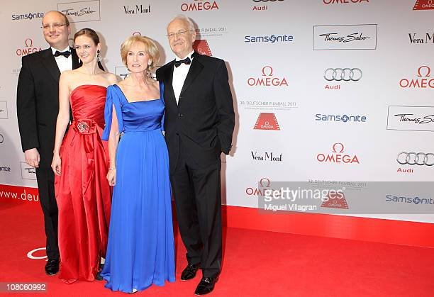 Dominic Stoiber and his wife Melanie Karin Stoiber and Edmund Stoiber arrive for the German Filmball 2011 at Hotel Bayerischer Hof on January 15 2011...