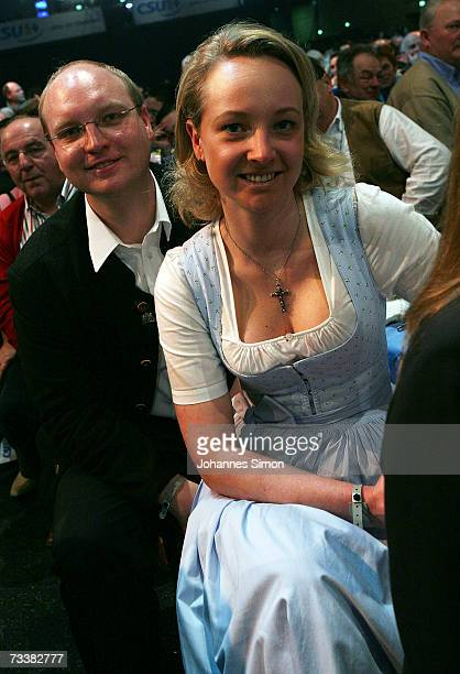 Dominic Stoiber and Veronica Sass children of Bavarian Governor Edmund Stoiber attend the traditional Christian Social Union Ash Wednesday rally on...