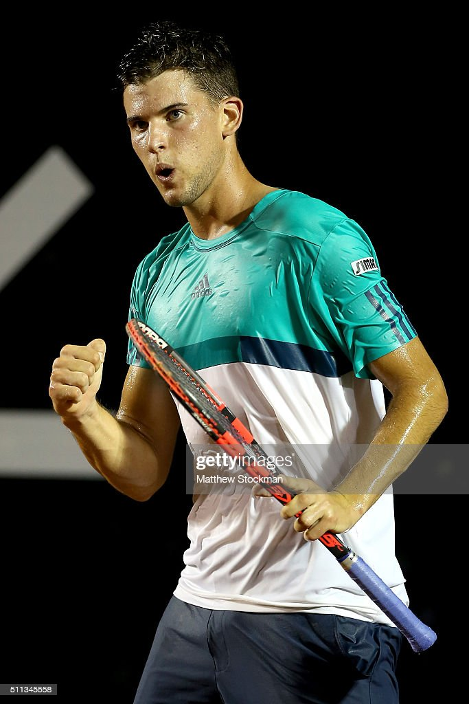 Dominic Theim of Austria celebrates a point against David Ferrer of Spain during the Rio Open at Jockey Club Brasileiro on February 19, 2016 in Rio de Janeiro, Brazil.