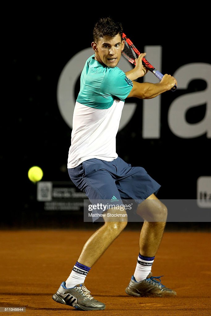 Dominic Theim of Austria returns a shot to David Ferrer of Spain during the Rio Open at Jockey Club Brasileiro on February 19, 2016 in Rio de Janeiro, Brazil.