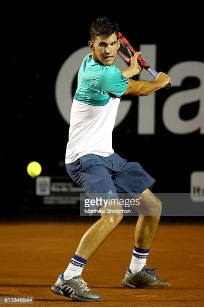 Dominic Theim of Austria returns a shot to David Ferrer of Spain during the Rio Open at Jockey Club Brasileiro on February 19 2016 in Rio de Janeiro...